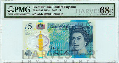 2015 Great Britain £5 Polymer Banknote - Certified Pmg 68 Epq - Superb Gem Unc