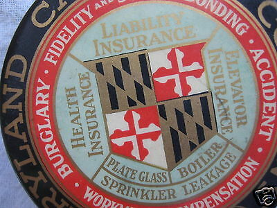 vtg 1898 celluloid sign disc paperweight desk advertising Maryland insurance MD