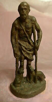 Ancient Primitive Miniature Cast Bronze Saint Lazarus Figure Statue c 100 Ad.
