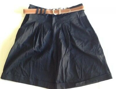 Womens Greatland Apparel Black Casual Pleated Shorts Size 13 High Waisted NWT