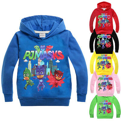 NEW! PJ Masks Print Hooded Sweatshirt Kids Long Sleeve Hoodies Cartoon Print Top