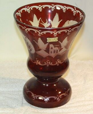 Czech Republic Egermann Etched Ruby to Clear Art Glass Vase Original Label Large