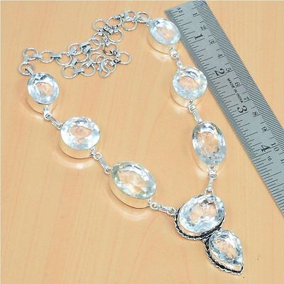 925 Sterling Silver Plated Faceted White Rock Crystal Quartz Necklace Jewelry