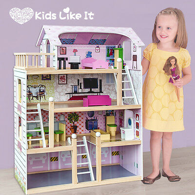 New GIRLS Pink Wooden Mansion Dolls Dollhouse with 13 Pieces Full FURNITURE