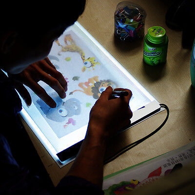 LED Light Box Art A4 Stencil Board Tracing Drawing Table Acrylic Painting w Base