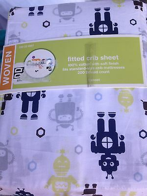 Circo Robots Fitted Crib Toddler Bed Sheet Blue Green New Baby Bedding Boy