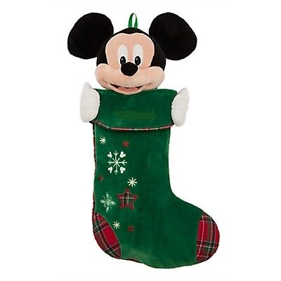 New Disney Store Mickey Mouse Plush Green Christmas Holiday Stocking