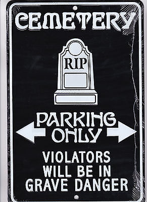 CEMETARY PARKING ONLY new metal sign for Addams Family Munsters Cemetery Fans
