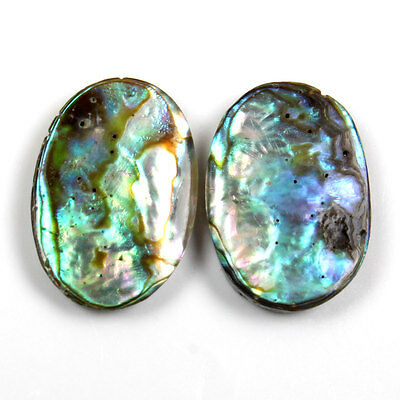 Original 14x10 mm ABALONE SHELL oval Flat Gemstone 5.5 Cts For Earring s-21777