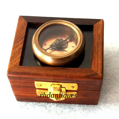 Collectible Vintage Brass Pocket Compass With Wooden Mirror Box, Nautical Gift