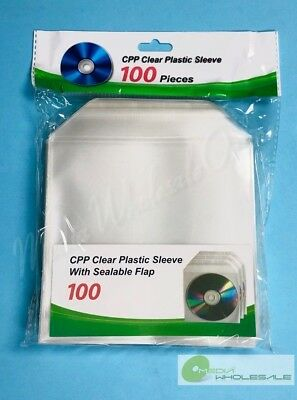 1000 CD DVD BLURAY CPP Clear Plastic Sleeve with Sealable Flap 100micron