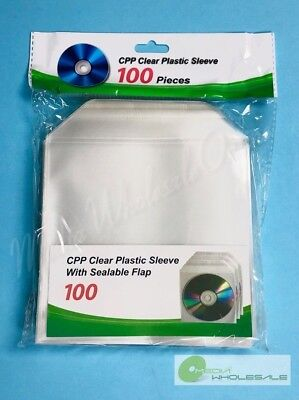 2000 CD DVD BLURAY CPP Clear Plastic Sleeve with Sealable Flap 100micron