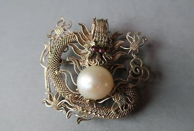 An Antique Silver Brooch Chinese Dragon With Baroque Pearl, 1930 Circa.