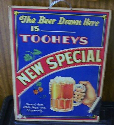 ORIGINAL 1930's TOOHEYS NEW SPECIAL BEER PUB POINT OF SALE SIGN
