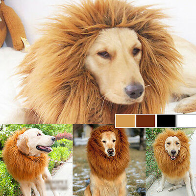 Cool Pet Fancy Dress Up Costume Lion Mane Wig Large Dogs Halloween Clothes Warm