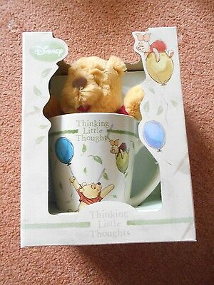 Disney Winnie Pooh Thinking Little Thoughts Mug & Softie New & Boxed Gorgeous