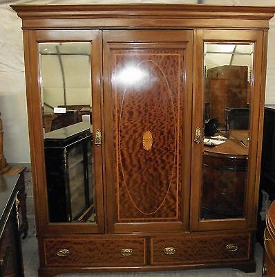 """ Mahogany Triple Wardrobe ""  With Inlay  Circa 1890-1910"