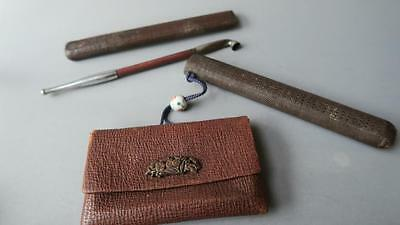 A Meiji Period Leather Tobacco Pouch With Kiseru Pipe Holder, 1870 Circa.