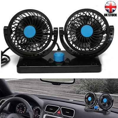 12V 360° All-Round Rotation Dual Air Fan Automotive Cooling Cooler Car Van Truck