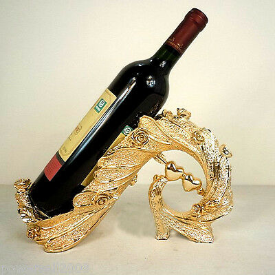 European Fashion Resin L30*W11*H18 Double Heart Wine Rack Gold Decoration