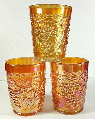 Three Early Imperial Grape Pattern Marigold Carnival Glass Tumblers 1905-1920 NM