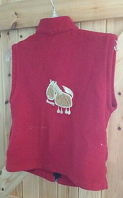 Red Gilet Fleecy Body Warmer Age 8-10 Years  With Pony Motif Naaay  By Griffin