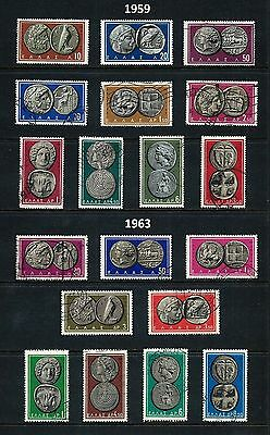 GREECE _ 1959-63 'GREEK COINS' complete 19 _ mh-used _____(455)