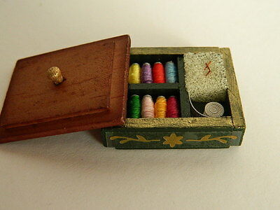 (M6.10) Dolls House Wooden Sewing Box With Accessories