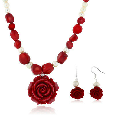 """18"""" Red Simulated Coral Cultured Freshwater Pearl Carved Rose Necklace + Earring"""