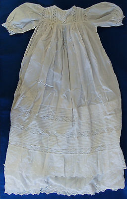 Antique Victorian Christening Gown Whitework Lace Broderie Anglaise 1893