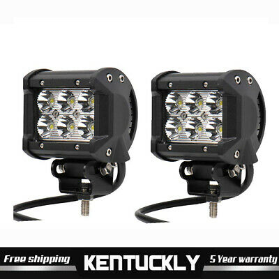 2x 18W 4 inch Cree LED Work Light Bar Flood Beam Off road 4WD Jeep Driving Lamp