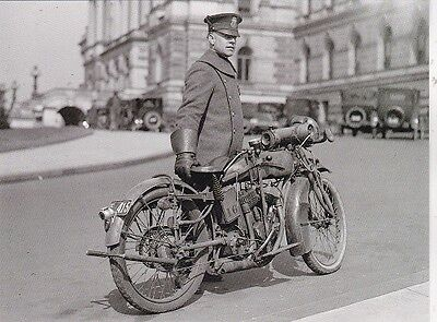 """*Postcard-""""Police Officer Next to Motorcycle""""  -1922-  ...Classic-"""