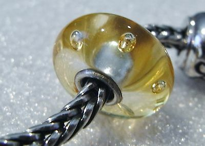 GENUINE TROLLBEADS 'OOAK RETIRED CHAMPAGNE GOLD  BUBBLE BEAD' s & COLOURING