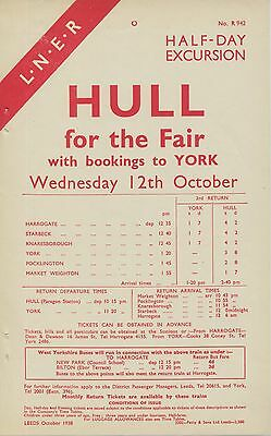 LNER 1938 Half Day Excursions to Hull Fair Wednesday 12th October 1938 1