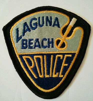 Vintage LAGUNA BEACH (USA) POLICE PATCH fabric embroidered sew on rare
