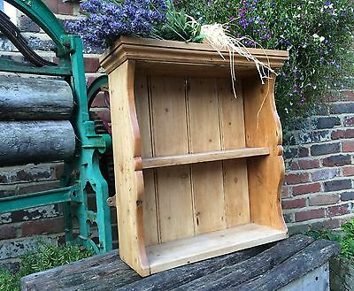 Old antique stripped and waxed wall mounted pine rustic bookshelves