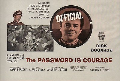 1962 A5 Advert Password Is Courage Dirk Bogarde, Maria Perschy, Alfred Lynch