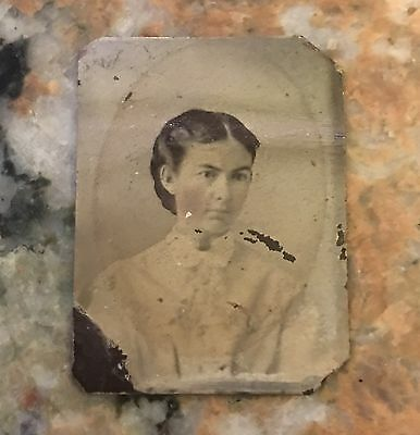 """Victorian Tin Type Lady Picture 1.5 X 2"""""""