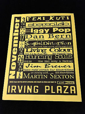 Iggy Pop-Social Distortion-Tantric-Oleander-Concert Flyer/handbill-Irving Plaza