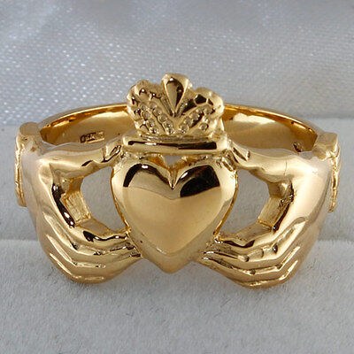 Hallmarked 9ct Yellow Gold Large Claddagh Design Ring RRP £265 {C97}