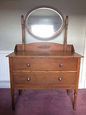 ANTIQUE VINTAGE 1930s / 1940's DRESSING TABLE WITH DRAWERS & MIRROR