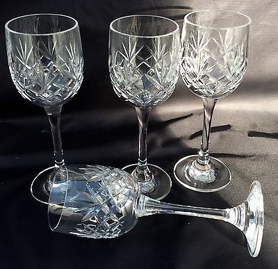 """Fine Quality Set Of 4 Crystal Cut Glass Wine/ Port Glasses.6 1/4"""" High.12CL Size"""