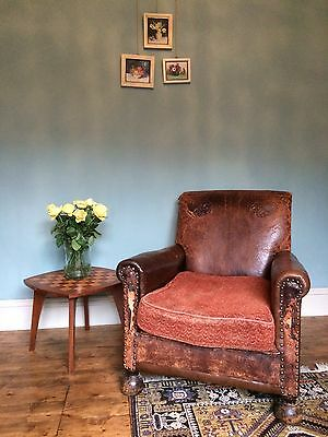 Antique Vintage 1920's Leather Club Chair. Unusual Embossed Design. Comfy!