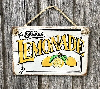 LEMONADE - Rustic Vintage Timber Wall Sign Hanging Art French Provincial