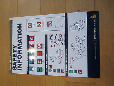 consignes de securite safety card Boeing 777-200 Singapore airlines