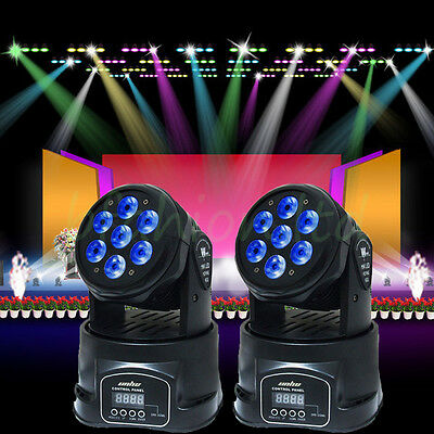2 x Stage Colorful LED Moving Head Wash Light Disco Party Effect Lighting Strobe
