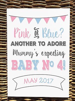 PINK OR BLUE BABY NUMBER 4 colourful PREGNANCY ANNOUNCEMENT print photo prop