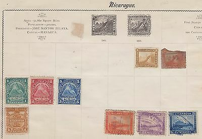 Ls125  Extremely Early Stamps From Nicaragua On Old Album Page