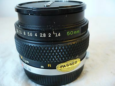 Zuiko Olympus fast F1.4 50mm lens OM Auto-S system, caps, pouch