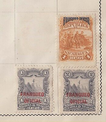 Ls126  Extremely Early Stamps From Nicaragua & Officials On Old Album Page